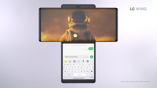 This photo, provided by LG Electronics Inc. on Sept. 14, 2020, shows the company's new dual-screen smartphone, the Wing. (PHOTO NOT FOR SALE) (Yonhap)