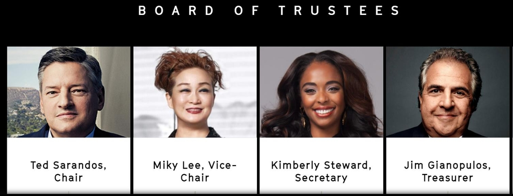 This image captured from the homepage of the Academy Museum of Motion Pictures shows its board of trustees. (PHOTO NOT FOR SALE) (Yonhap)