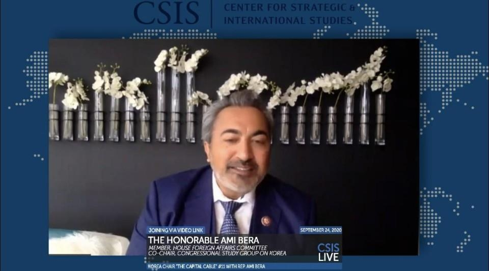The captured image from the website of Washington-based think tank, Center for Strategic and International Studies (CSIS), shows Ami Bera, a Democratic member of the House of Representatives and chairman of the House Subcommittee on Asia, the Pacific and Nonproliferation, speaking in a webinar hosted by the CSIS on Sept. 24, 2020. (Yonhap)
