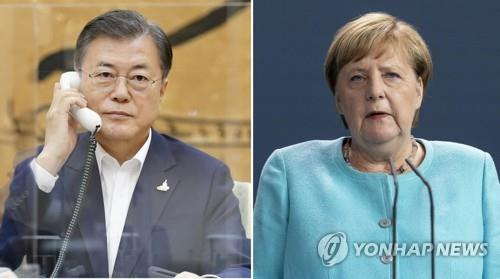 The photo on the left, provided by South Korea's presidential office, shows President Moon Jae-in holding a phone conversation with German Chancellor Angela Merkel on Oct. 1, 2020. The file photo on the right, provided by EPA, shows German Chancellor Angela Merkel. (PHOTO NOT FOR SALE) (Yonhap)