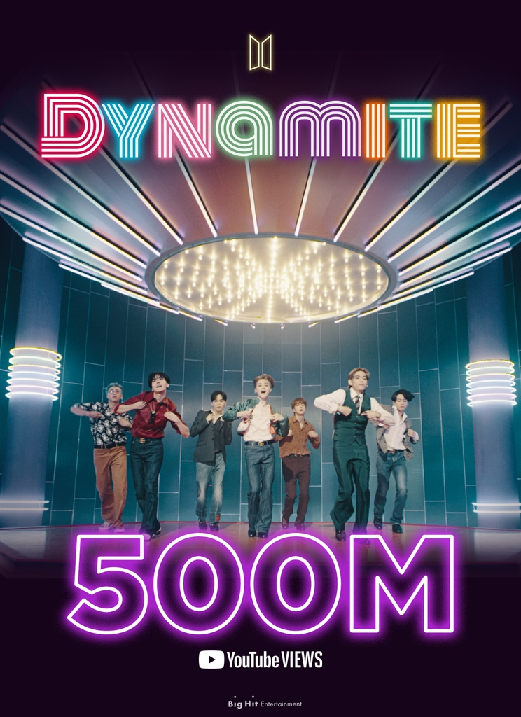 """This image, provided by Big Hit Entertainment on Oct. 20, 2020, shows an image marking 500 million YouTube views for the BTS song """"Dynamite."""" (PHOTO NOT FOR SALE) (Yonhap)"""