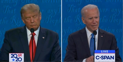 The captured image from U.S. cable news network C-Span shows U.S. Democratic presidential candidate Joe Biden (R) speaking in the second presidential TV debate with his Republican rival, President Donald Trump, on Oct. 22, 2020. (PHOTO NOT FOR SALE) (Yonhap)