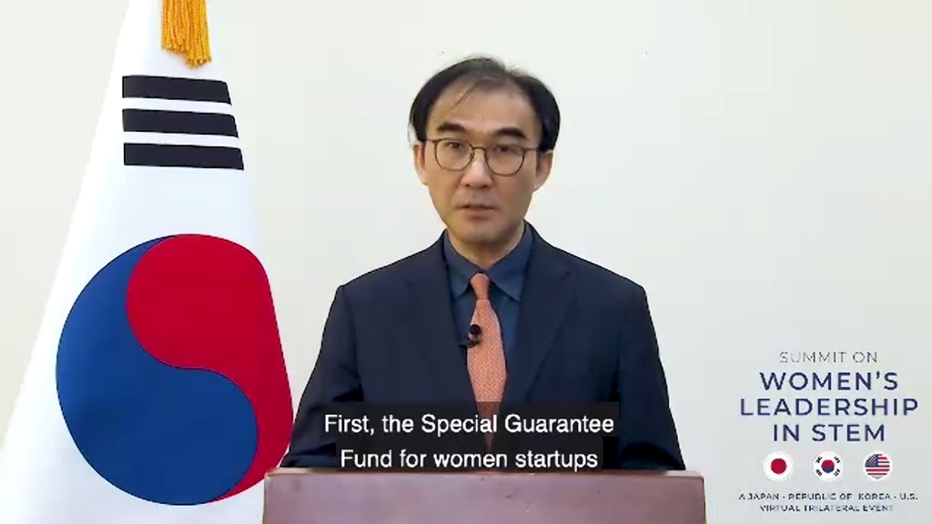 Deputy Minister for Economic Affairs Lee Seong-ho speaks during the virtual South Korea-U.S.-Japan Women's Empowerment Trilateral Conference in this recent photo provided by the foreign ministry. (PHOTO NOT FOR SALE) (Yonhap)