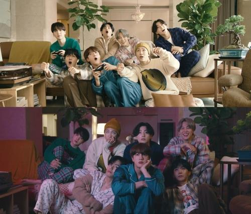 """This composite image provided by Big Hit Entertainment shows members of K-pop group BTS in the music video for the song """"Life Goes On."""" (PHOTO NOT FOR SALE) (Yonhap)"""