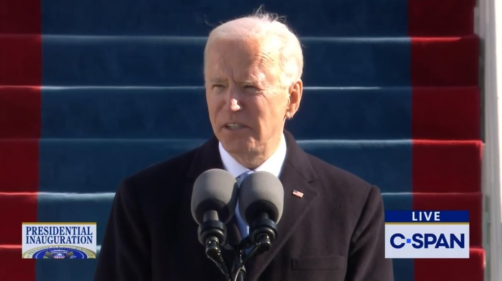 The captured image from the website of U.S. cable news network C-Span shows U.S. President Joe Biden delivering his inaugural address shortly after being sworn in as president at an inauguration ceremony in Washington on Jan. 20, 2021. (PHOTO NOT FOR SALE) (Yonhap)