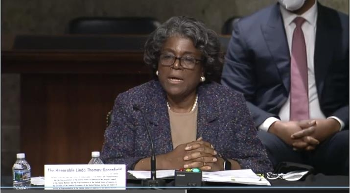The captured image from the website of the U.S. Senate Foreign Relations Committee shows U.S. Ambassador to U.N. nominee Linda Thomas-Greenfield speaking in a Senate confirmation hearing on Jan. 27, 2021. (Yonhap)