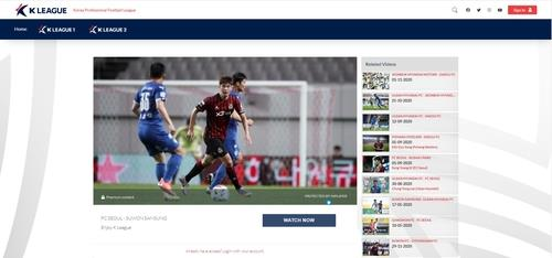 This image provided by the Korea Professional Football League on Feb. 23, 2021, shows its new over-the-top platform, K League TV. (PHOTO NOT FOR SALE) (Yonhap)