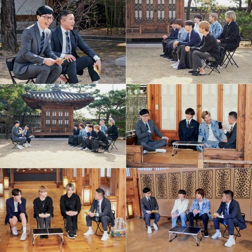 """This composite image, provided by CJ ENM, shows BTS in an episode of """"You Quiz on the Block"""" hosted by comedians Yoo Jae-suk and Jo Se-ho. (PHOTO NOT FOR SALE) (Yonhap)"""