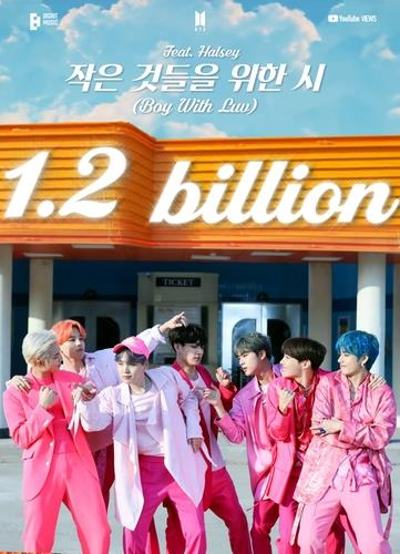 "This photo, provided by Big Hit Music, shows an image celebrating 1.2 billion views earned by the BTS music video ""Boy With Luv."" (PHOTO NOT FOR SALE) (Yonhap)"
