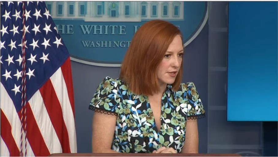The captured image from the website of the White House shows spokeswoman Jen Psaki answering questions in a daily press briefing at the White House in Washington on April 16, 2021. (Yonhap)