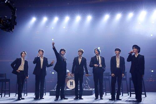 "This file photo, provided by Big Hit Music on March 13, 2021, shows BTS performing in the charity concert ""Music On a Mission."" (PHOTO NOT FOR SALE) (Yonhap)"