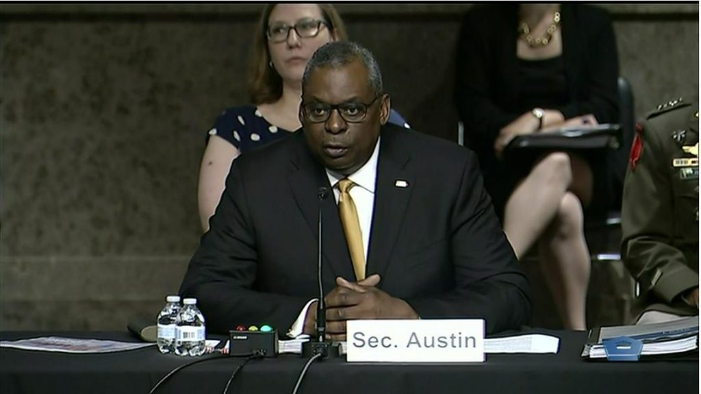 The image captured from the website of the U.S. Department of Defense shows Defense Secretary Lloyd Austin answering questions in a hearing before the Senate Armed Services Committee in Washington on June 10, 2021. (PHOTO NOT FOR SALE) (Yonhap)