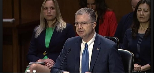 The image captured from the website of the Senate Foreign Relations Committee shows Daniel Kritenbrink, nominee for assistant secretary of state for East Asian and Pacific affairs, delivering opening remarks in a confirmation hearing in Washington on June 15, 2021. (PHOTO NOT FOR SALE) (Yonhap)