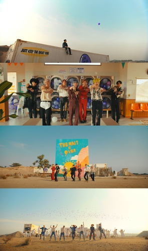 """This compilation image, provided by Big Hit Music, shows images for BTS' new music video """"Permission to Dance"""" released on July 9, 2021. (PHOTO NOT FOR SALE) (Yonhap)"""