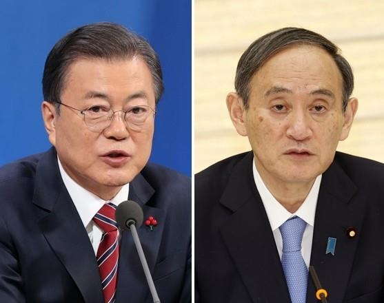 South Korean President Moon Jae-in (L) and Japanese Prime Minister Yoshihide Suga are seen in file photos of Yonhap News Agency and Kyodo News. (PHOTO NOT FOR SALE) (Yonhap)