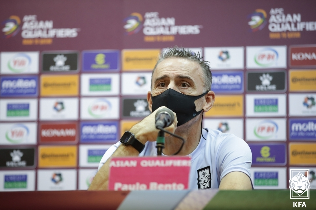 South Korea head coach Paulo Bento speaks at a press conference at Azadi Stadium in Tehran on Oct. 11, 2021, a day before a World Cup qualifying match against Iran, in this photo provided by the Korea Football Association. (PHOTO NOT FOR SALE) (Yonhap)