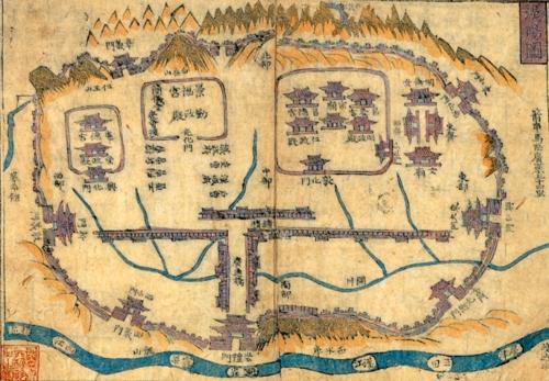 (서울=연합뉴스) 한양 도성 등이 기록된 1882년 작성 한양도.