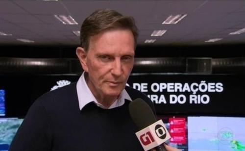 마르셀루 크리벨라 리우 시장이 재난지역 선포 배경을 설명하고 있다. [브라질 뉴스포털 G1]