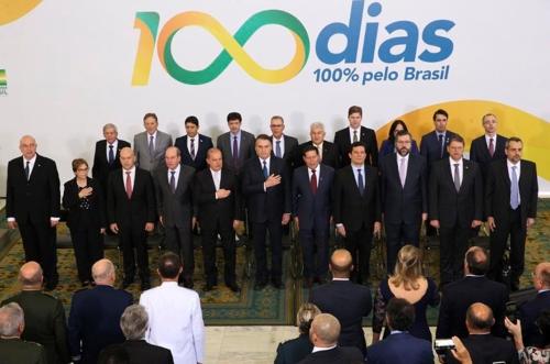 11일(현지시간) 브라질리아에서 열린 보우소나루 대통령 취임 100일 기념행사 [국영 뉴스통신 아젠시아 브라질]