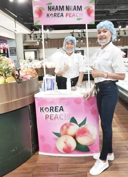 한국 복숭아 캄보디아 대형마트 입점
