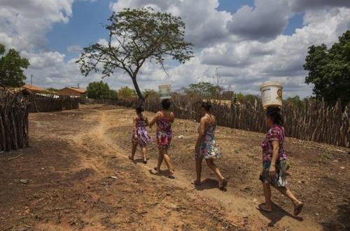 브라질의 저개발 지역 주민들이 먹는 물을 운반하는 모습 [브라질 뉴스포털 UOL]