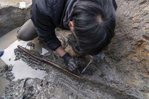경산 소월리 유적 목간 출토 모습