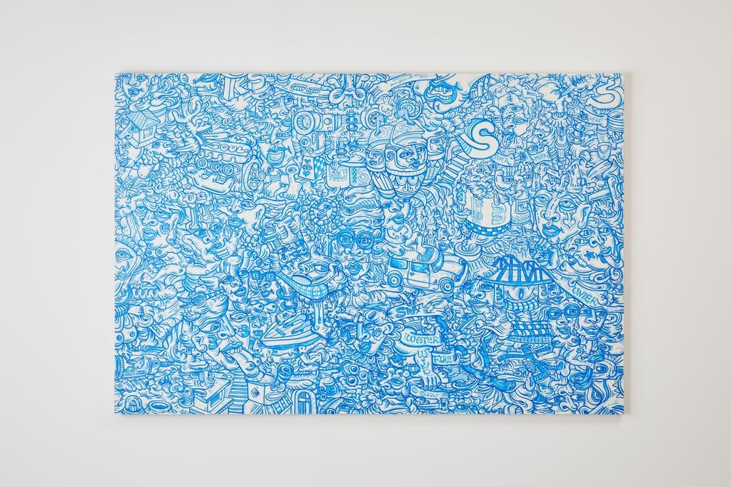 김태중 'Endless line drawing(萬物狀)', 2015, acrylic on canvas, 130x194cm [갤러리요호 제공. 재판매 및 DB 금지]