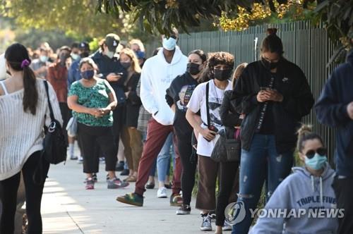 미 샌페르난도 코로나19 검사소 앞에 줄 선 주민들