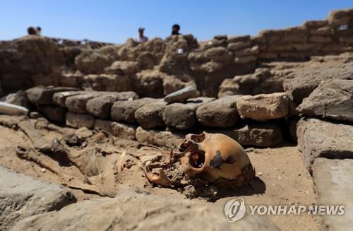 이집트 룩소르 도시 유적지에서 발굴된 사람의 유골