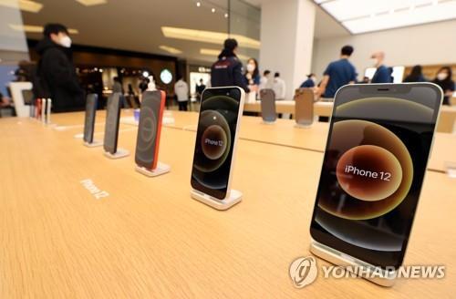 애플스토어에 전시된 아이폰