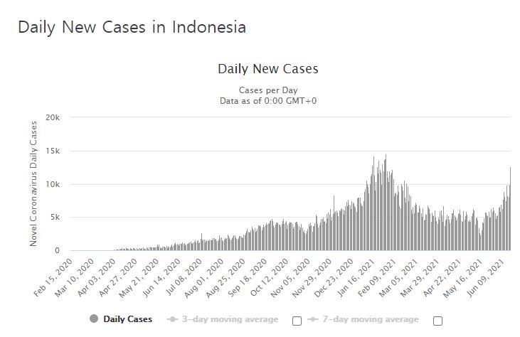 인도네시아의 코로나19 일일 신규 확진자 수 발생 추이. [월드오미터 홈페이지 캡처. 재판매 및 DB 금지]