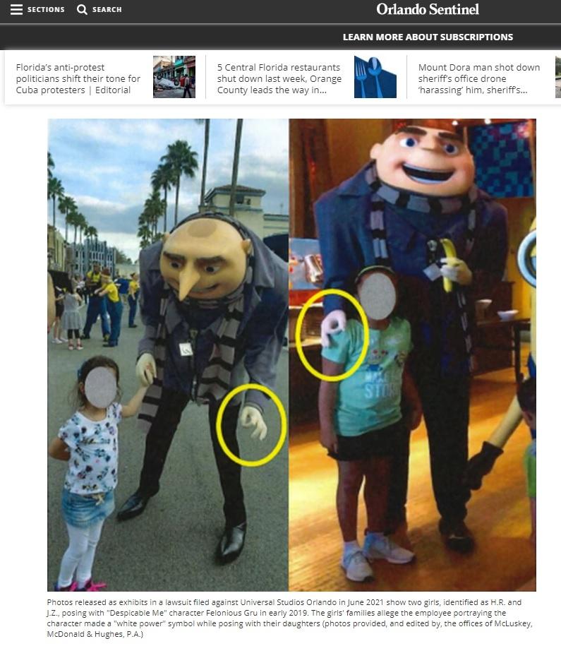 애니메이션 '슈퍼배드'의 등장인물 인형 탈을 쓴 직원이 흑인 어린이에게 'OK 손가락' 표시를 만드는 모습 [올랜도 센티넬 캡처. 재판매 및 DB금지]