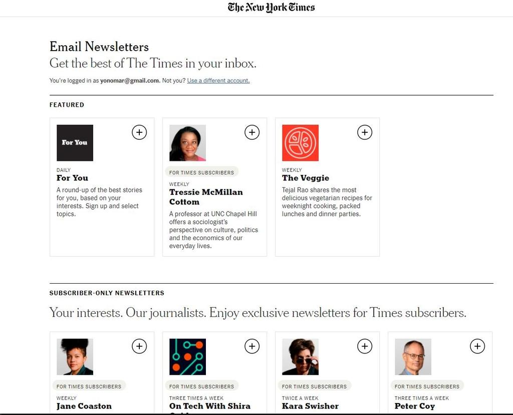 뉴욕타임스 뉴스레터 서비스 소개 화면 캡처 ※DB 저장 및 재배포 금지