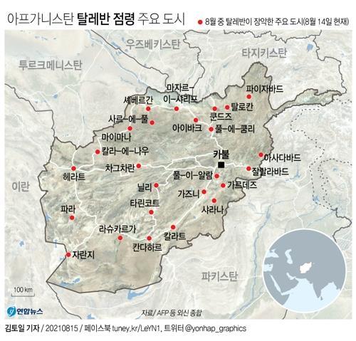 [그래픽] 아프간 탈레반 점령 주요 도시
