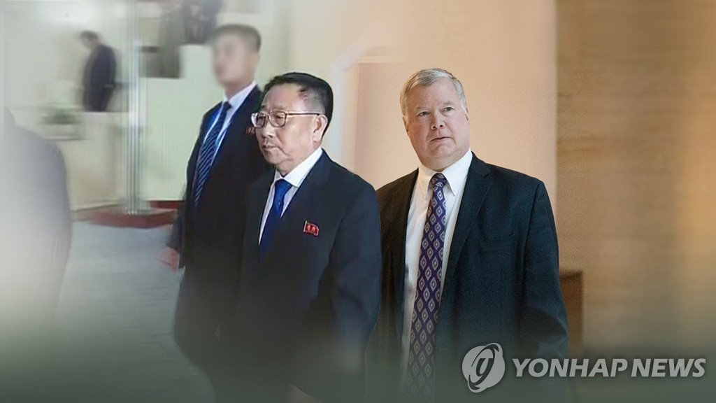 This compilation image shows North Korea's chief nuclear negotiator, Kim Myong-gil (L), and U.S. Special Representative for North Korea Stephen Biegun. (Yonhap)