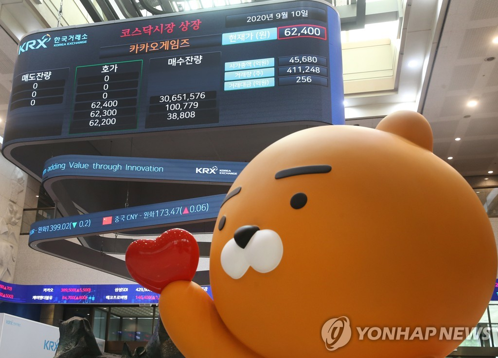 Ryan, a chatting character of South Korea's messenger app Kakao Talk, cheers Kakao Games' listing in the secondary KOSDAQ market on Sept. 10, 2020, in this photo provided by bourse operator Korea Exchange. (PHOTO NOT FOR SALE) (Yonhap)