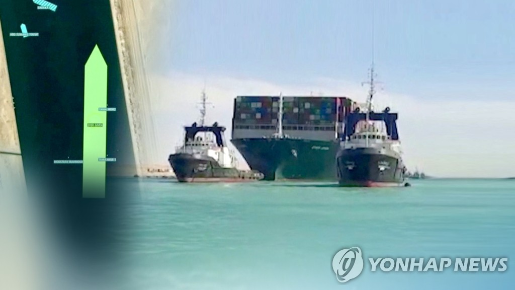 사고 선박 부양 후 이동…수에즈 운하 7일만에 열렸다 (CG)