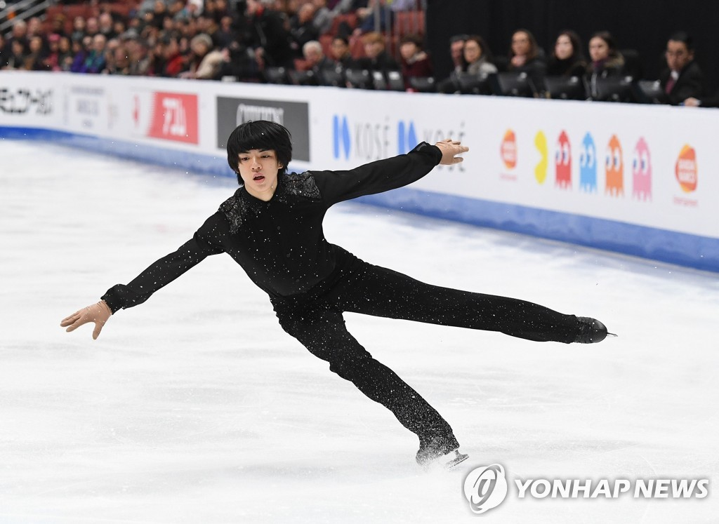 In this AFP photo, Cha Jun-hwan of South Korea performs his short program at the International Skating Union Four Continents Figure Skating Championships at Honda Center in Anaheim, California, on Feb. 7, 2019. (Yonhap)