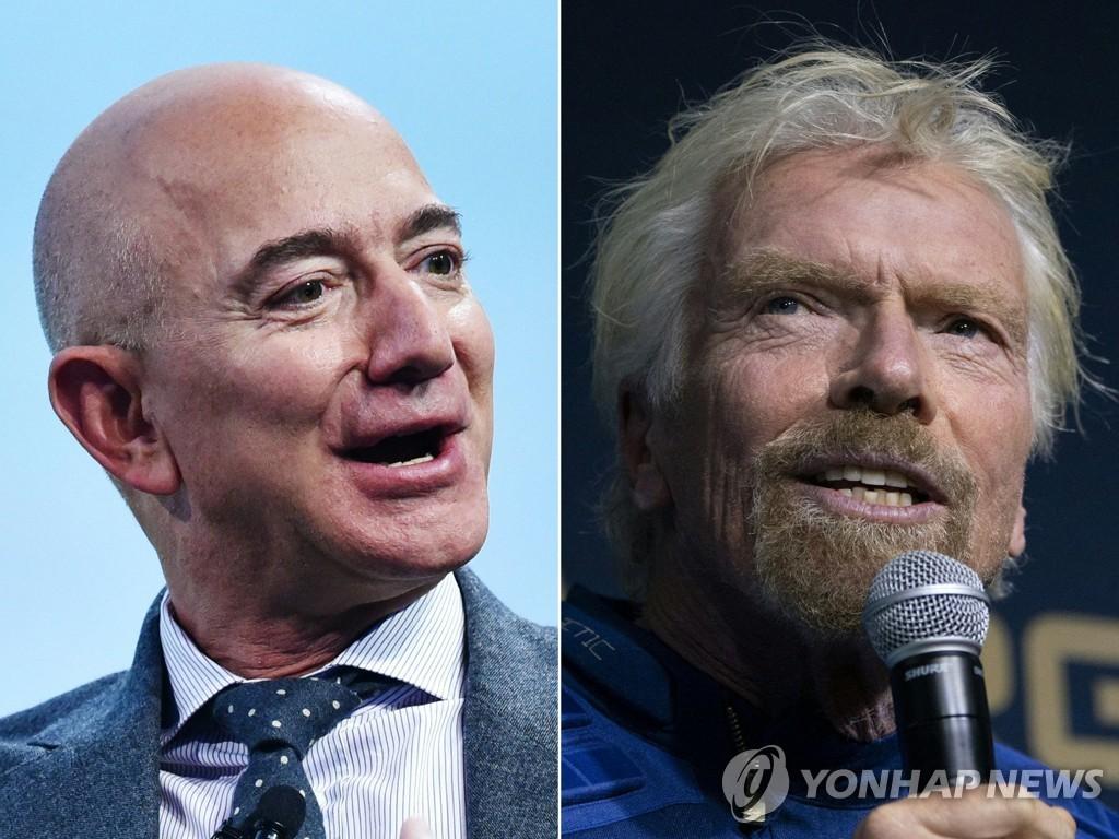 아마존의 창업자 제프 베이조스(왼쪽)과 리처드 브랜슨 [AFP=연합뉴스 자료사진. 콤보사진]