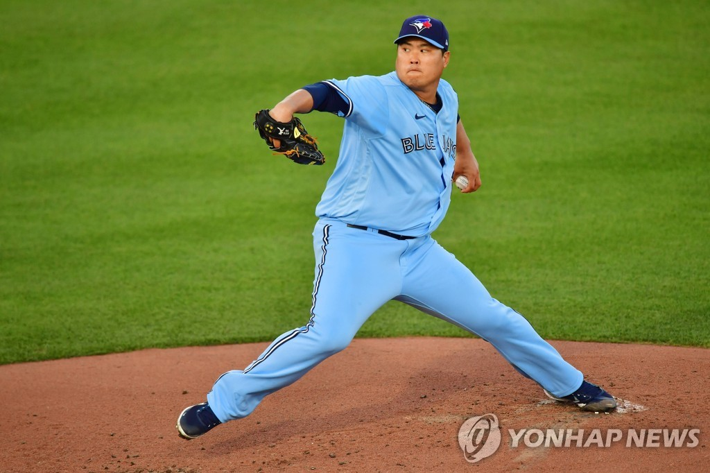 In this Getty Images photo, Ryu Hyun-jin of the Toronto Blue Jays pitches against the New York Yankees in the top of the second inning of a Major League Baseball regular season game at TD Ballpark in Dunedin, Florida, on April 13, 2021. (Yonhap)
