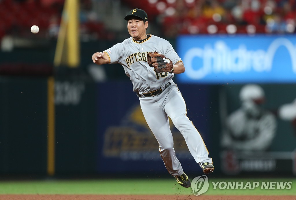 In this UPI file photo from July 15, 2019, Pittsburgh Pirates shortstop Kang Jung-ho makes a play against the St. Louis Cardinals in the top of the eighth inning of a Major League Baseball regular season game at Busch Stadium in St. Louis. (Yonhap)