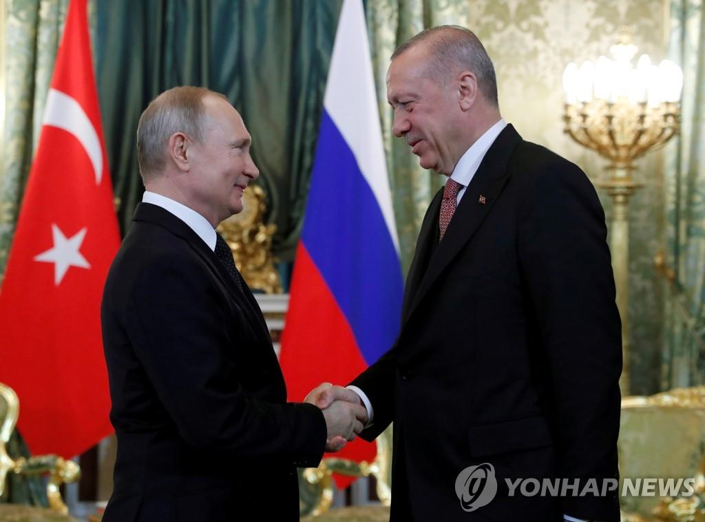올해 4월 모스크바에서 만난 푸틴 러시아 대통령(왼쪽)과 에르도안 터키 대통령