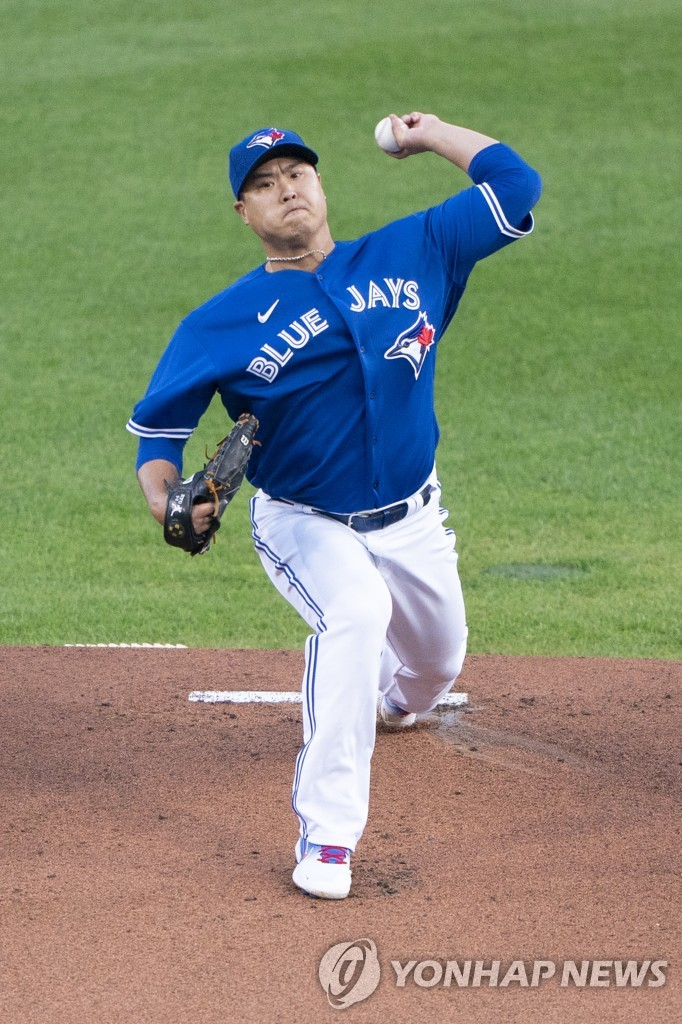 In this USA Today Sports photo via Reuters, Ryu Hyun-jin of the Toronto Blue Jays pitches against the New York Yankees in the top of the first inning of a Major League Baseball regular season game at Sahlen Field in Buffalo, New York, on Sept. 24, 2020. (Yonhap)