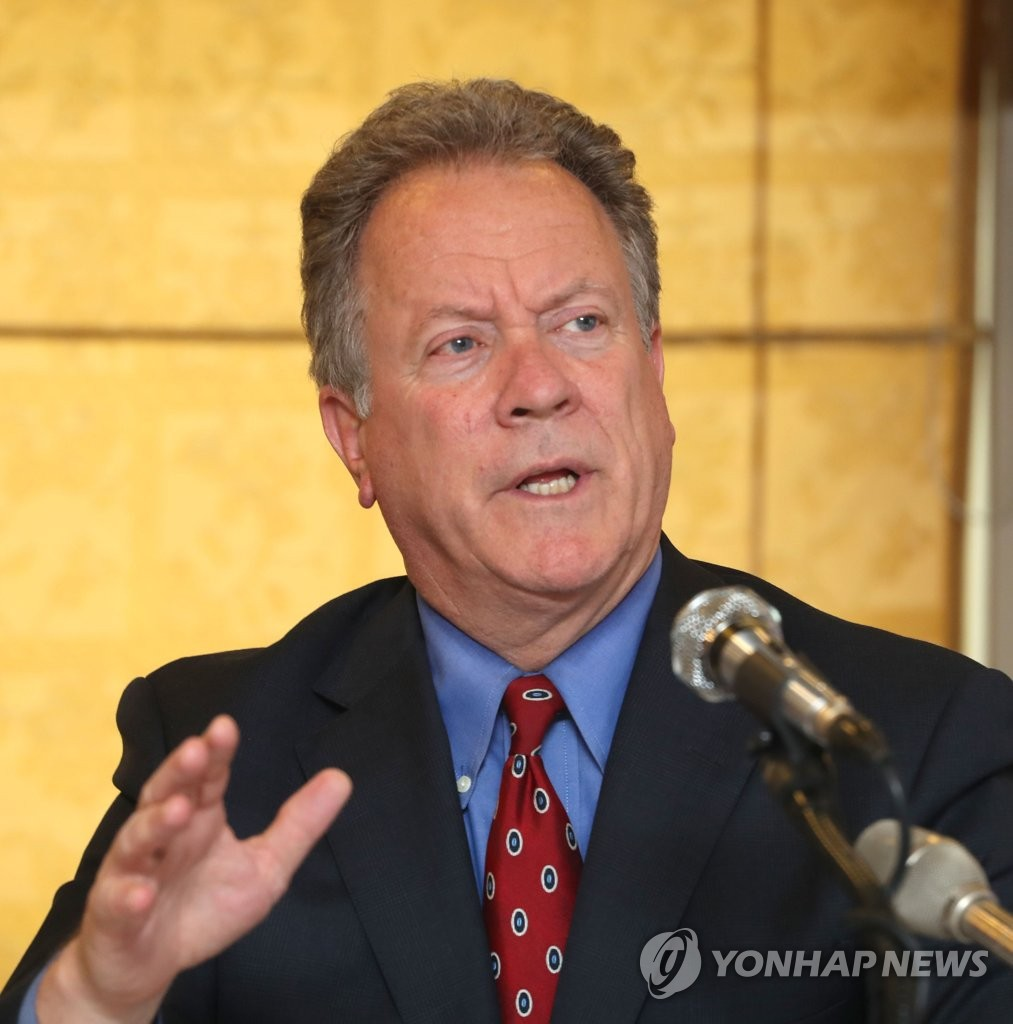 David Beasley, chief of the World Food Programme (WFP), speaks during a press conference in Seoul on May 13, 2018. (Yonhap)