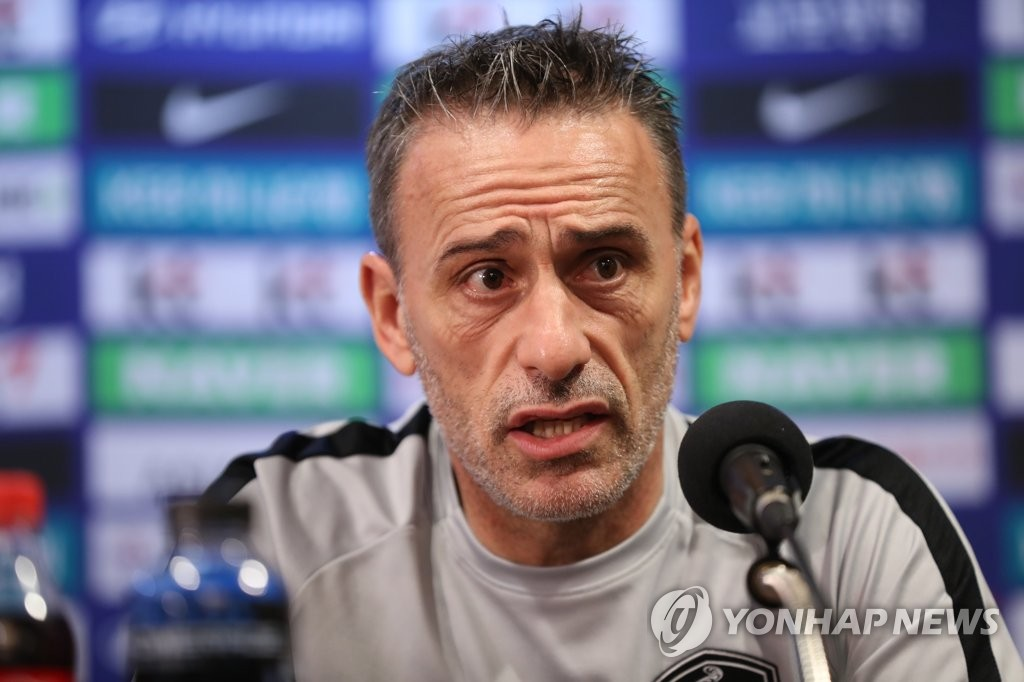 In this file photo taken on Sept. 6, 2018, South Korea national football team head coach Paulo Bento speaks at a press conference at Goyang Stadium in Goyang, north of Seoul. (Yonhap)