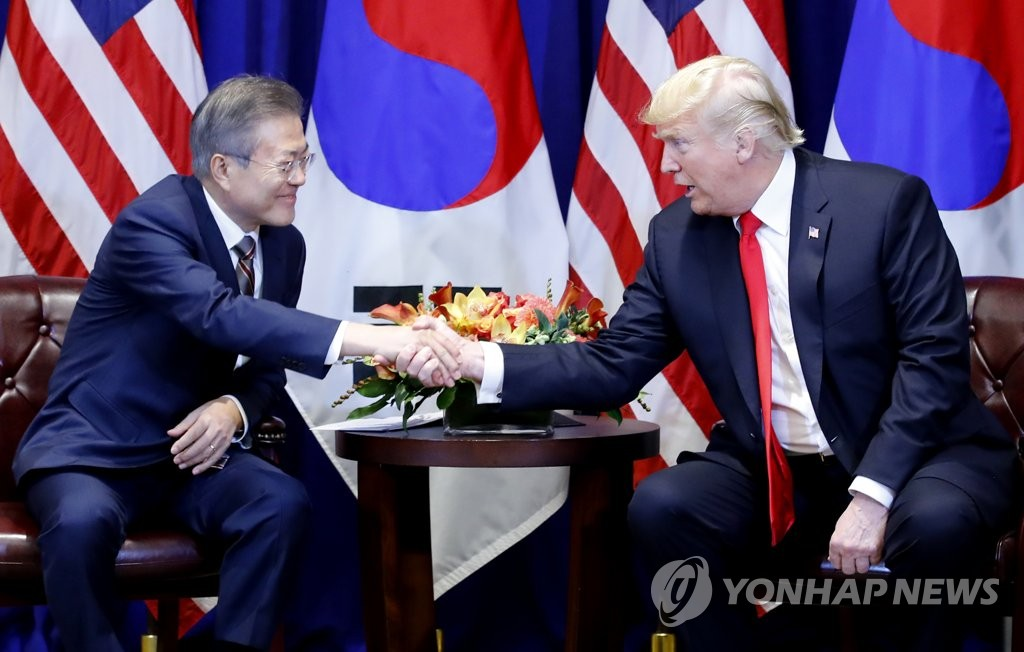 (5th LD) Moon, Trump discuss 'corresponding measures' for N. Korean denuclearization