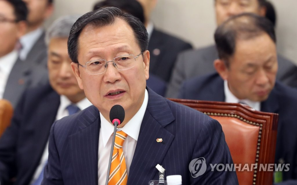Kim Jong-gap, CEO of the state-run Korea Electric Power Corp., answers questions during a parliamentary audit held at the National Assembly on Oct. 16, 2018. (Yonhap)