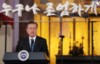 (LEAD) Peace efforts will set stage for promoting human rights: Moon