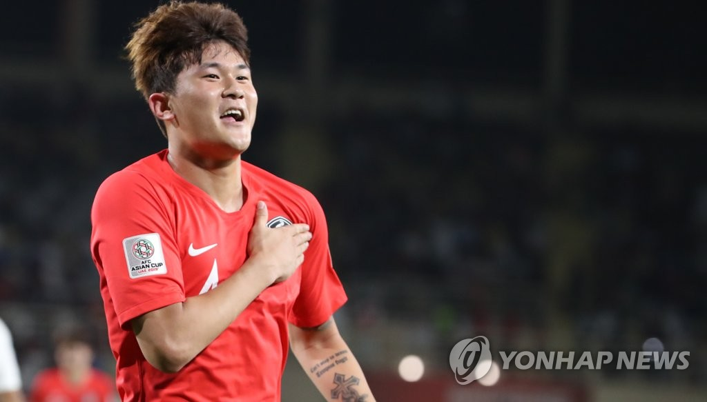 Kim Min-jae of South Korea celebrates his goal against China in Group C action at the Asian Football Confederation (AFC) Asian Cup at Al Nahyan Stadium in Abu Dhabi on Jan. 16, 2019. (Yonhap)