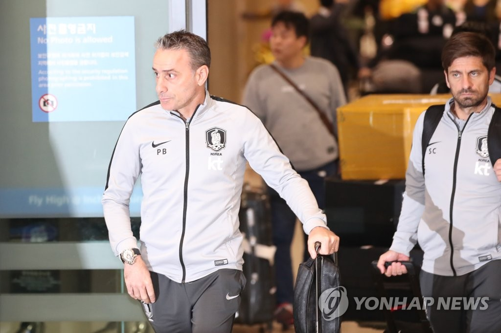 In this file photo, taken on Jan. 28, 2019, South Korea national football team head coach Paulo Bento arrives at Incheon International Airport in Incheon. (Yonhap)